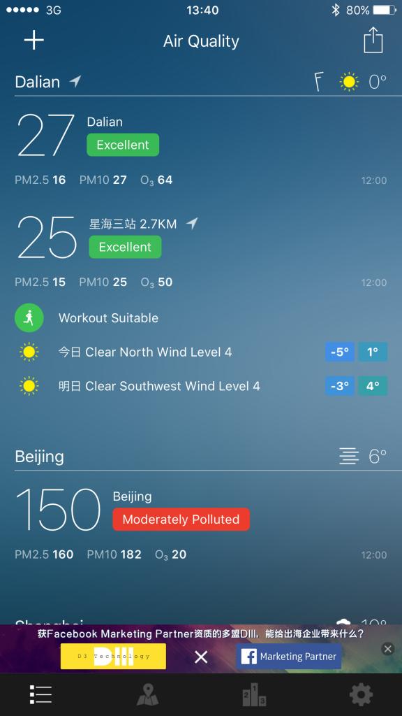 12月24日(木)の空気の様子。PM2.5が16!